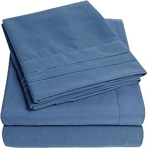 1500 Supreme Collection Bed Sheet Set - Extra Soft, Elastic Corner Straps, Deep Pockets, Wrinkle & Fade Resistant Hypoallergenic Sheets Set, Luxury Hotel Bedding, Full, Denim