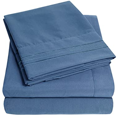 1500 Supreme Collection Extra Soft Queen Sheets Set, Denim - Luxury Bed Sheets Set with Deep Pocket Wrinkle Free Hypoallergenic Bedding, Over 40 Colors, Queen Size, Denim