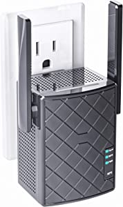 NEXTBOX WiFi Extender 1200 Mbps - 2.4 & 5GHz Dual Band Network - Internet Amplifier Signal Booster for Home Outdoor - WPS - LAN/Ethernet - Wireless Repeater Coverage up to 3000sq.ft Range & 32 Devices
