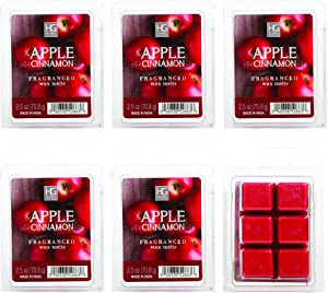 Hosley's Set of 6 Apple Cinnamon Scented Wax Cubes/Melts - 2.5 oz Each. Hand Poured Wax Infused with Essential Oils. Bulk Buy. Ideal for Weddings, Spa, Reiki, Meditation Settings W1