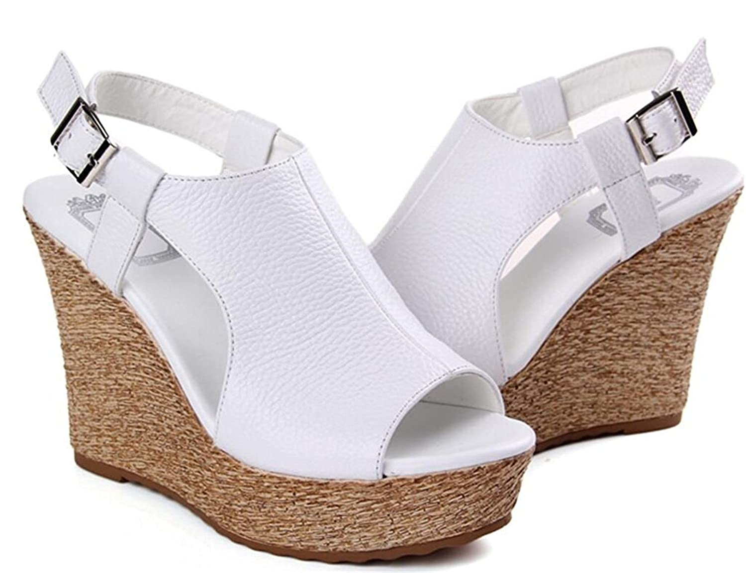 Gimekiss Pumps Womens Leather Simple Gladiator Platform High Heels Wedges Casual Sandals White7 B M US