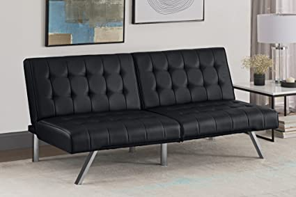 Merveilleux DHP Emily Futon Sofa Bed, Modern Convertible Couch With Chrome Legs Quickly  Converts Into A