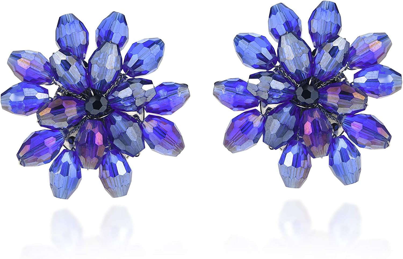 Simple Earrings Turquoise Floral Statement Earrings Gold Leaf Drop Earrings Geometric Chrysanthemum Flower Petal Drop Earrings Pastel
