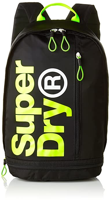 Superdry - Freshmanbackpack, Mochilas Hombre, Multicolor (Black/Acid), 30x50x18 cm