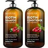 Biotin Shampoo and Conditioner Set with Lingonberry by Majestic Pure - for Hair Loss and Thinning Hair - Hydrating…
