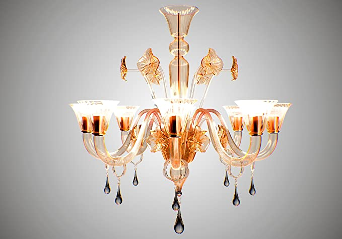 Lampadari Arte Di Murano.Lampadario Exclusive Classic 8 Luci Colore Ambra Arte Di