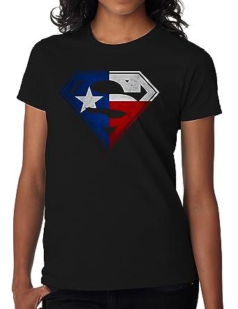 99c12e7e8a9e65 Amazon.com  BBT Womens Texas Flag in Superman Logo Tee  Clothing