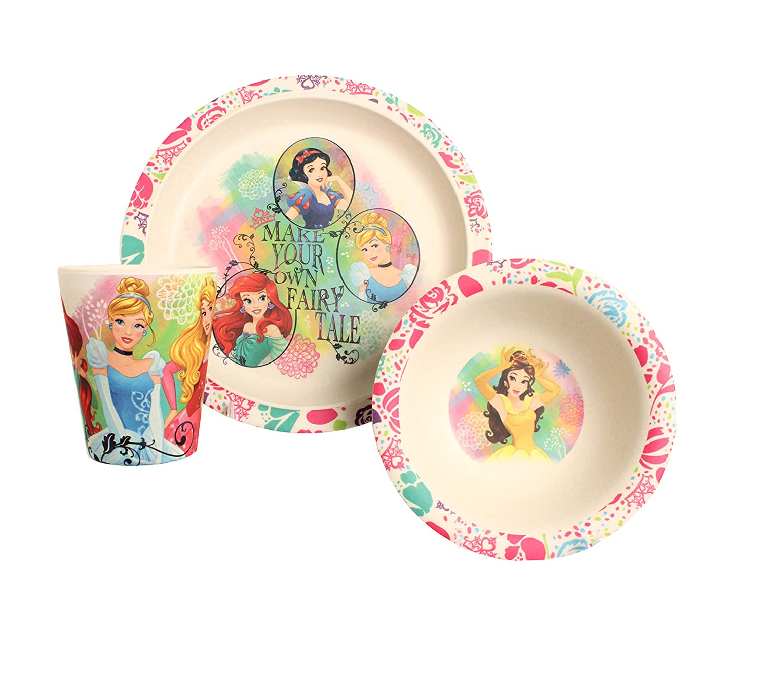 Amazon.com Disney Princess Dreams Come True Bamboo Dinnerware Set Multicolor 3-Piece Kitchen \u0026 Dining  sc 1 st  Amazon.com & Amazon.com: Disney Princess Dreams Come True Bamboo Dinnerware Set ...