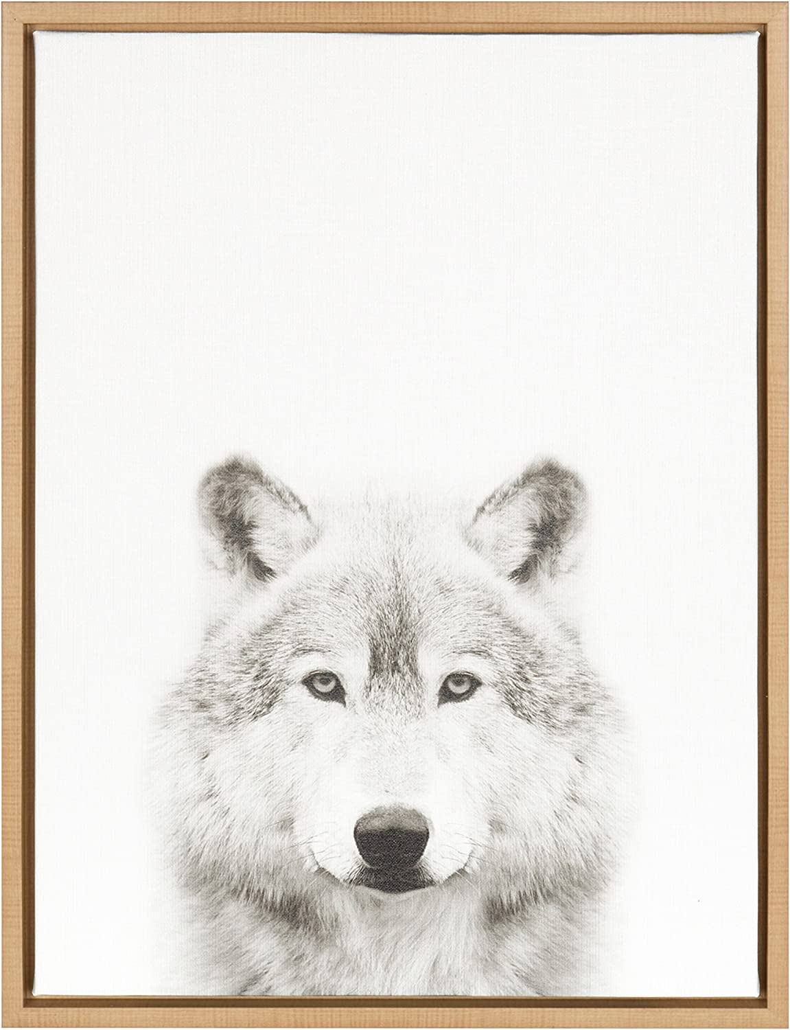 Kate and Laurel Sylvie Wolf Black and White Portrait Framed Canvas Wall Art by Simon Te Tai, 18x24 Natural