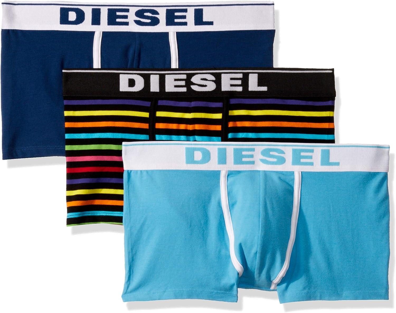 Multi//Blu//Navy Diesel 3-Pack Solido E Striscia Arcobaleno Boxer Uomo Boxer Tronchi
