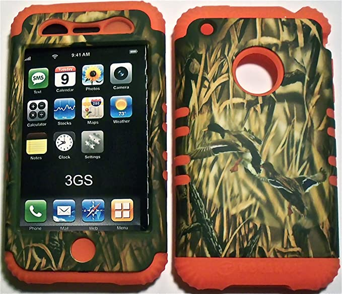 100% authentic 87df5 9a0bb Camo Ducks on Orange Silicone Skin for Apple iPhone 3 3G 3GS Hybrid 2 in 1  Rubber Cover Hard Case fits AT&T Wireless