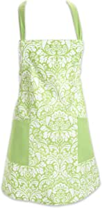 DII 100% Cotton, Fashion Printed Damask Women Kitchen Apron, Adjustable Neck Strap & Waist Ties, Front Pockets, Machine Washable, Perfect for Cooking, Baking, BBQ-Fresh Green