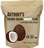 Anthony's Organic Coconut Flour, 4 lb, Batch Tested Gluten Free, Non GMO, Vegan, Keto Friendly