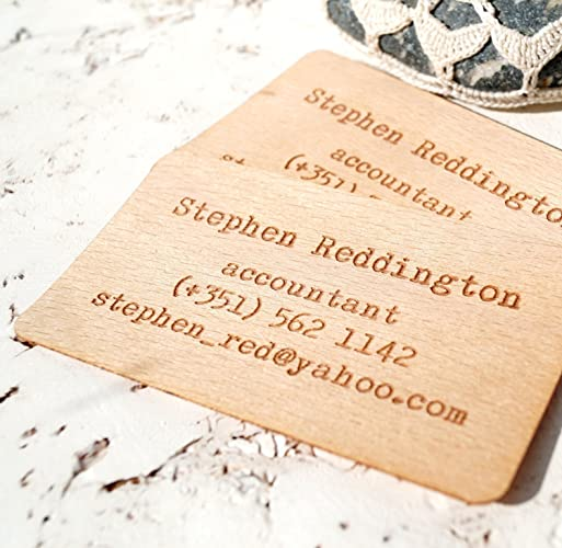 Amazon wooden business cards engraved wooden veneer business wooden business cards engraved wooden veneer business cards wooden cards set of 50 colourmoves