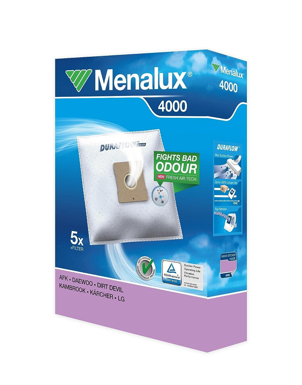 Menalux 4000 Paquete de 5 bolsas y 1 filtro para aspiradores AEG, Daewoo, Dirt Devil, Kambrook, Kärcher y LG