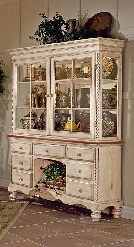 Hillsdale Furniture Wilshire Antique White Finish Wood Buffet And Hutch