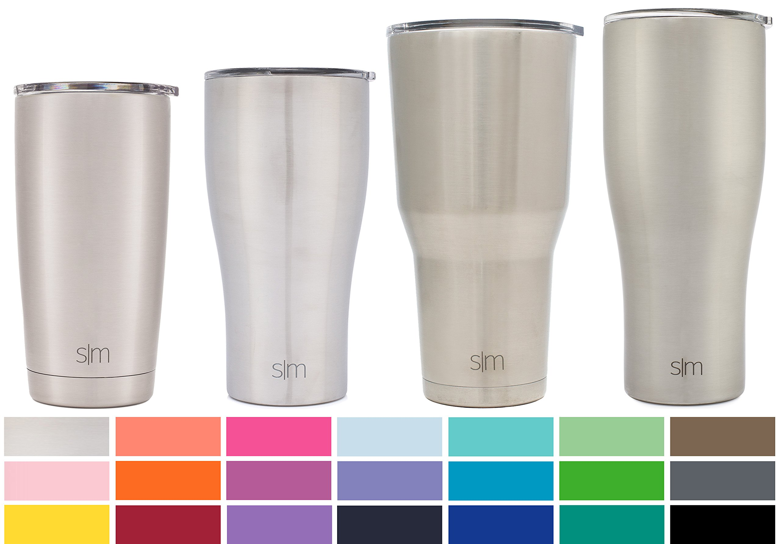 Simple Modern 32oz Slim Cruiser Tumbler - Vacuum Insulated Double Wall Beer Stein - Travel Mug 18/8 Stainless Steel Thermos Silver - Simple Stainless by Simple Modern
