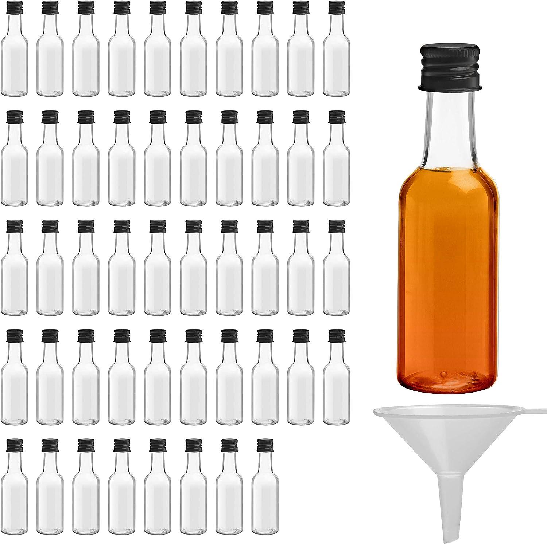 Belle Vous Mini Botellas de Licor (Pack de 48) - Botellas Pequeñas de Plástico 50ml Vacías - Tapa Negra de Rosca y Embudo - Botellas Reutilizables, Fácil Llenado - Mini Botella para Bodas y Fiestas