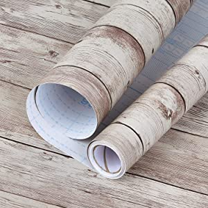 Wood Peel and Stick Paper 17.8in×16.4Ft Distressed Wood Wallpaper Removable Self-Adhesive Wood Contact Paper Decorative Wood Panel Interior Film