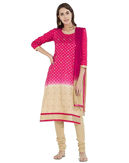 c4b8292436 Viva N Diva Un-Stitched Beads Stone Salwar Suit Material Dupatta For  Women's Beige & Pink Chanderi Cotton Punjabi Salwar Suit, Free Size:  Amazon.in: ...