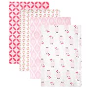 Hudson Baby Flannel Receiving Blankets, Pink Owls