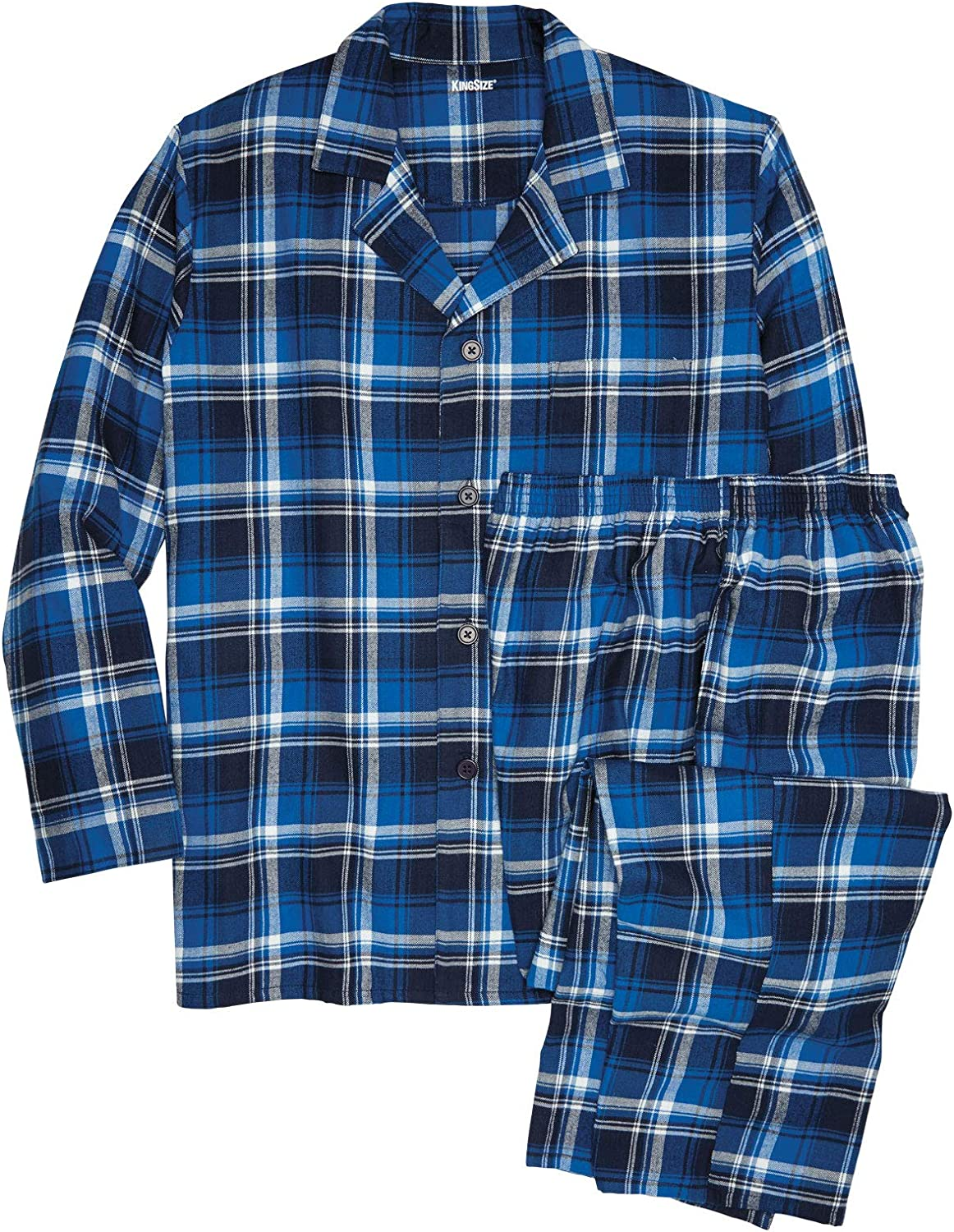 KingSize Mens Big /& Tall Plaid Flannel Pajama Set Pajamas