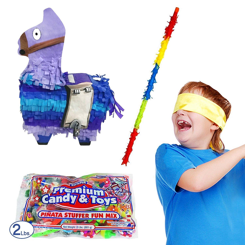 Secret Llama Pinata Kit for Fortnite Fans Including Pinata, 2 lb Candy Filler, Buster Stick and Bandana