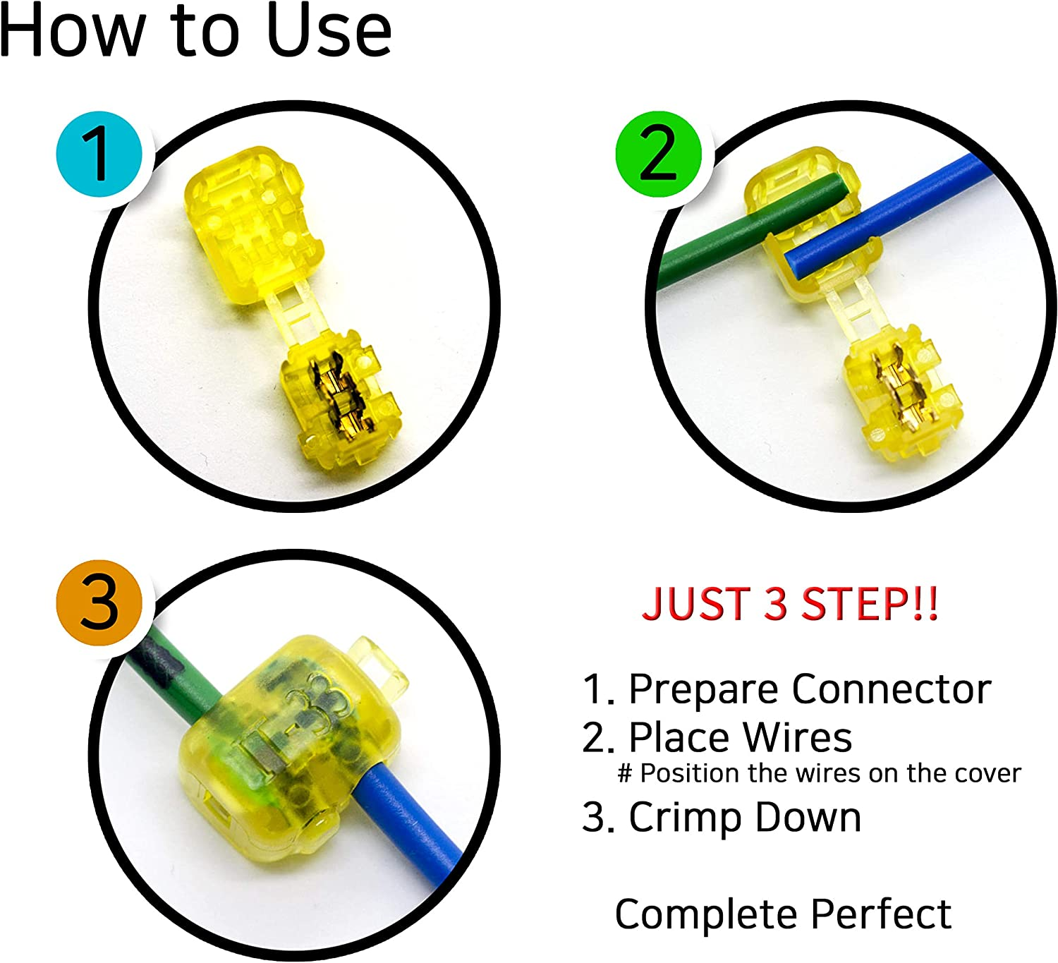 branch electrical wire connector//wire nuts Branch /& Junction IT-55, 100PCS terminal connector//One-to-One t tap AlphaO Quick Splice Connector