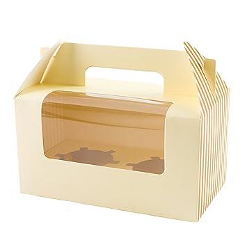 10 x cajas para cupcakes verde con insertar para 2 cupcakes: Amazon.es: Hogar