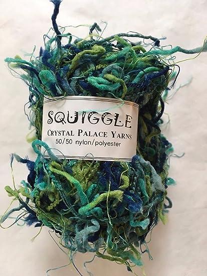 Squiggle Crystal Palace Yarns Blue Green Teal Aqua Novelty Polyester Nylon