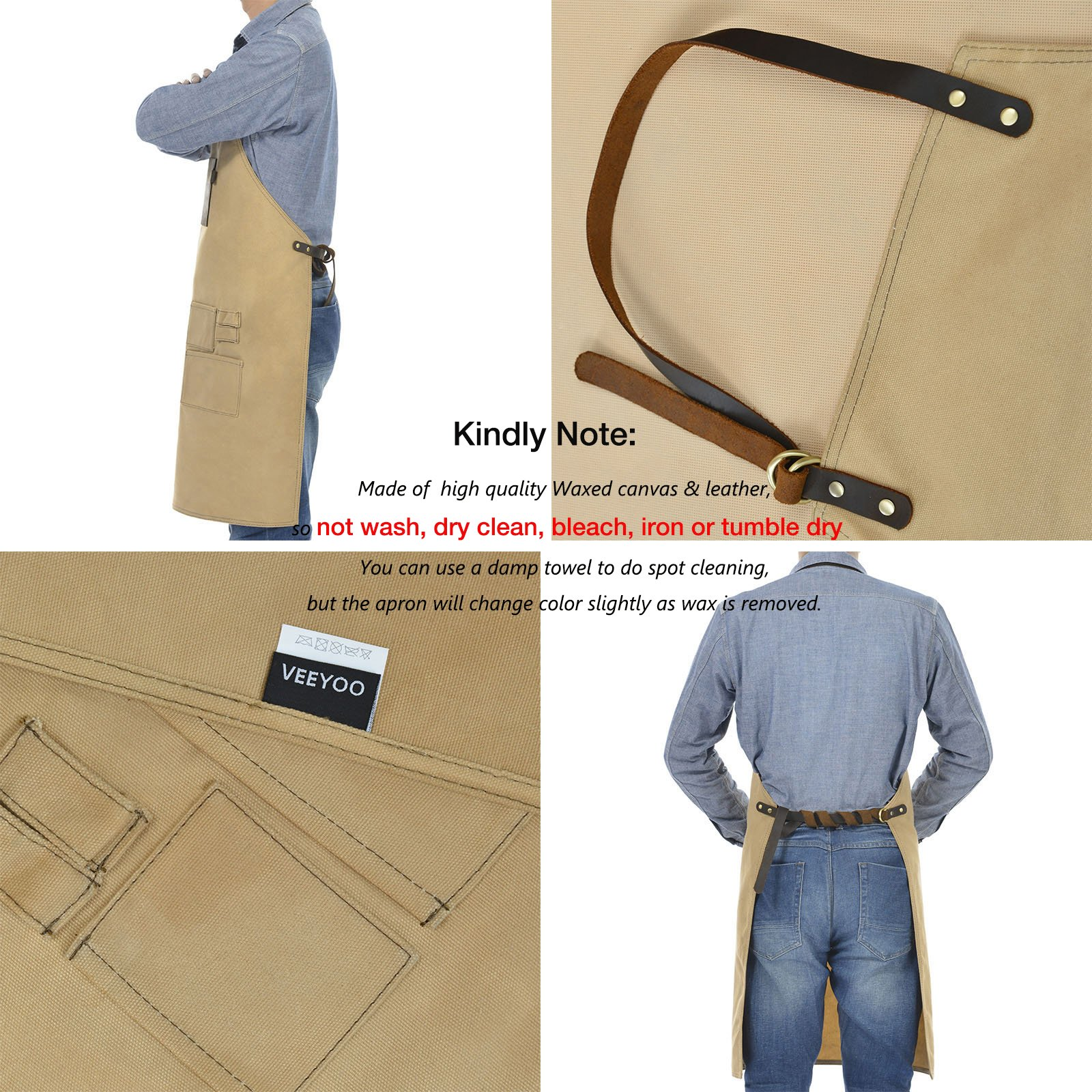 VEEYOO Heavy Duty Waxed Canvas Utility Apron with Pockets, Adjustable Shop Work Tool Welding Apron for Men and Women, Tan, 27x34 inches by VEEYOO (Image #6)
