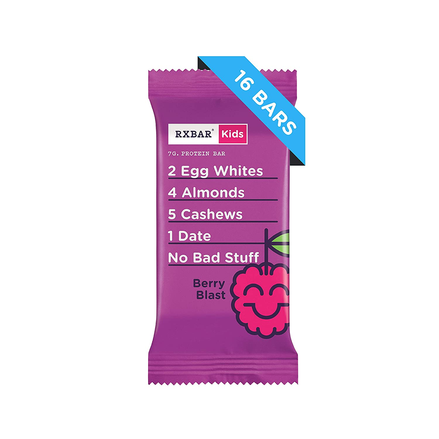 RXBAR Kids Whole Food Protein Bar, Berry Blast, 16 Count