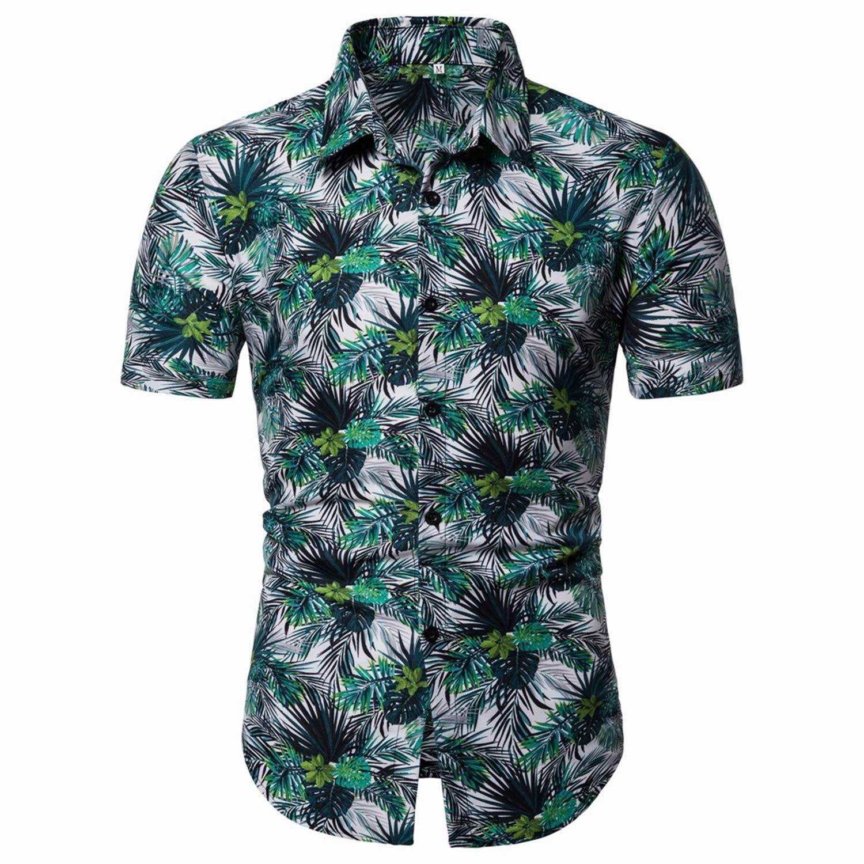 Men Hawaiian Shirts Summer Fashion Casual Print Short Sleeve Flower Shirt Retro Party Elegant Mens Shirt