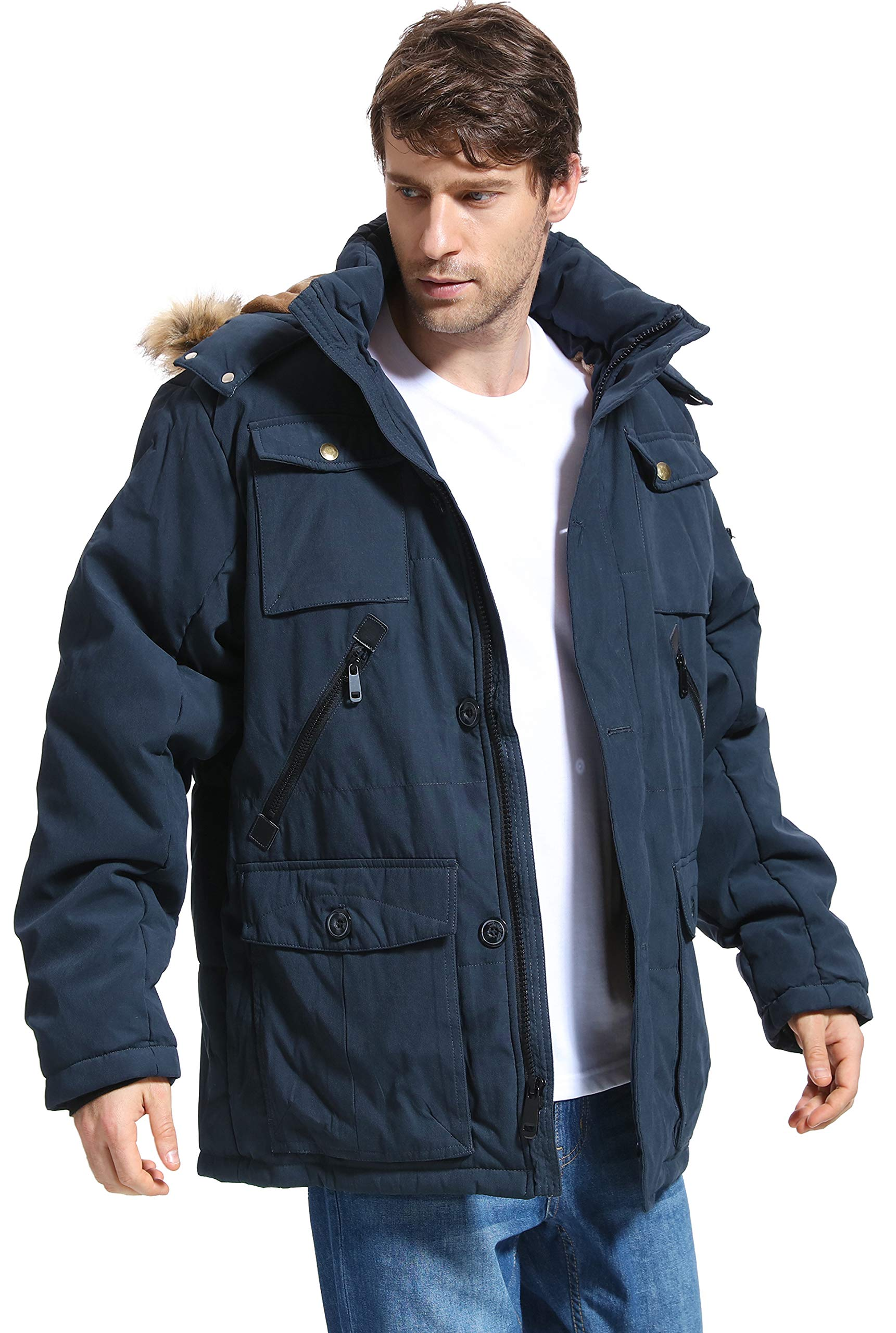 Piero Lusso Mens Parka Water and Wind Proof Coat Zippered and Snapped Clouse Outerwear Jacket
