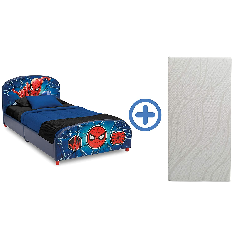 Delta Children Upholstered Twin Bed & 6-Inch Memory Foam Twin Mattress, Marvel Avengers, Marvel Spider-Man