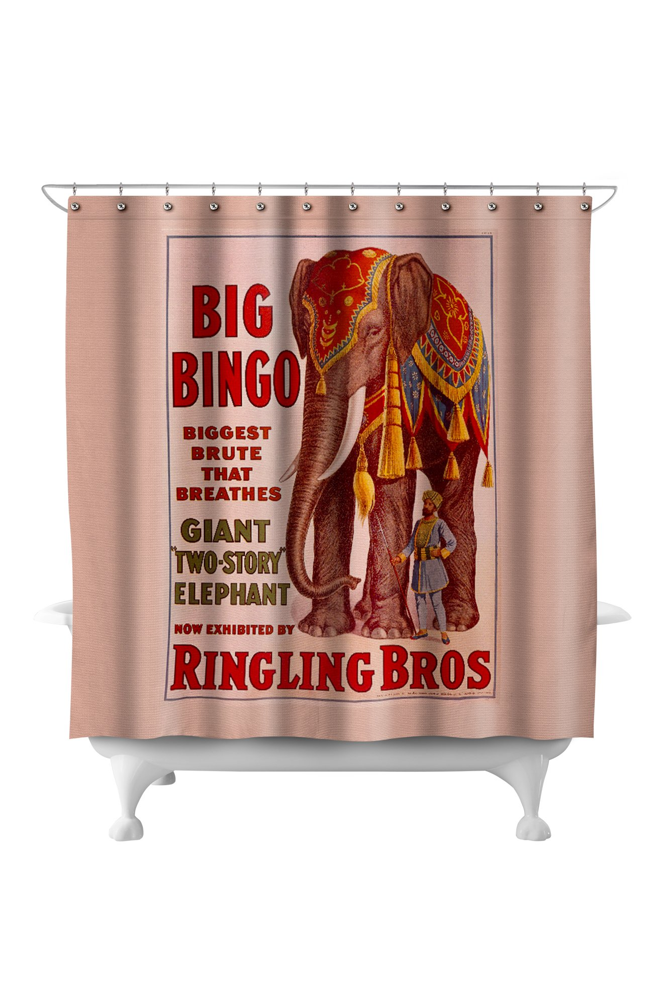 Ringling Bros - Big Bingo Vintage Poster USA c. 1916 (71x74 Polyester Shower Curtain) by Lantern Press