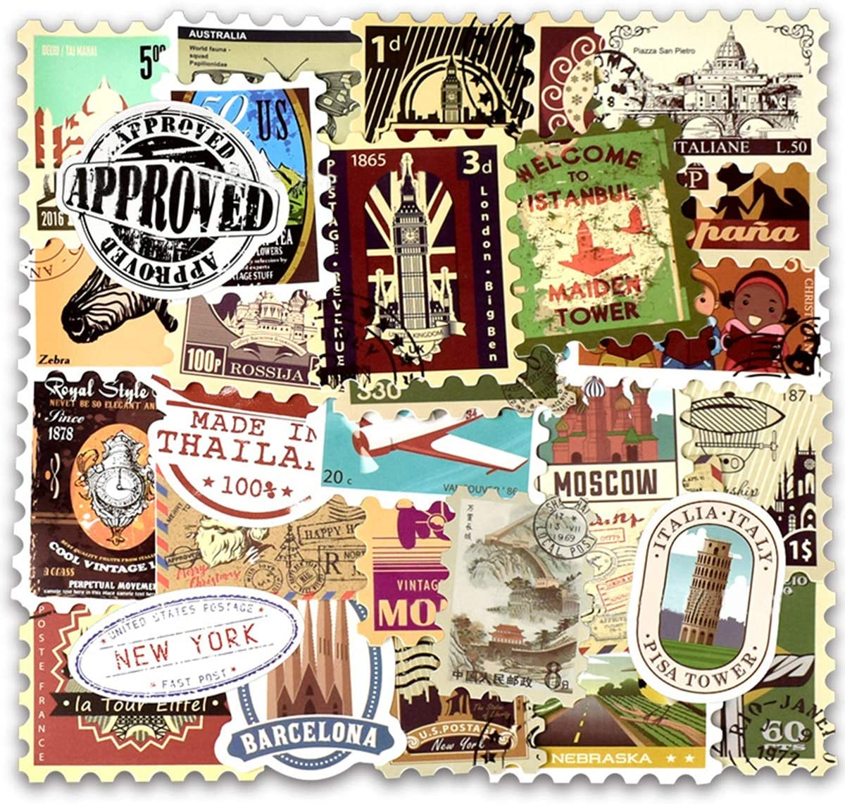 EHOPE Vintage Stamp Stickers Waterproof Vinyl Retro Travel Stickers Suitcase Sticker Decals for Suitcase Laptop Car Luggage Water Bottle (50Pcs Stamp Style)