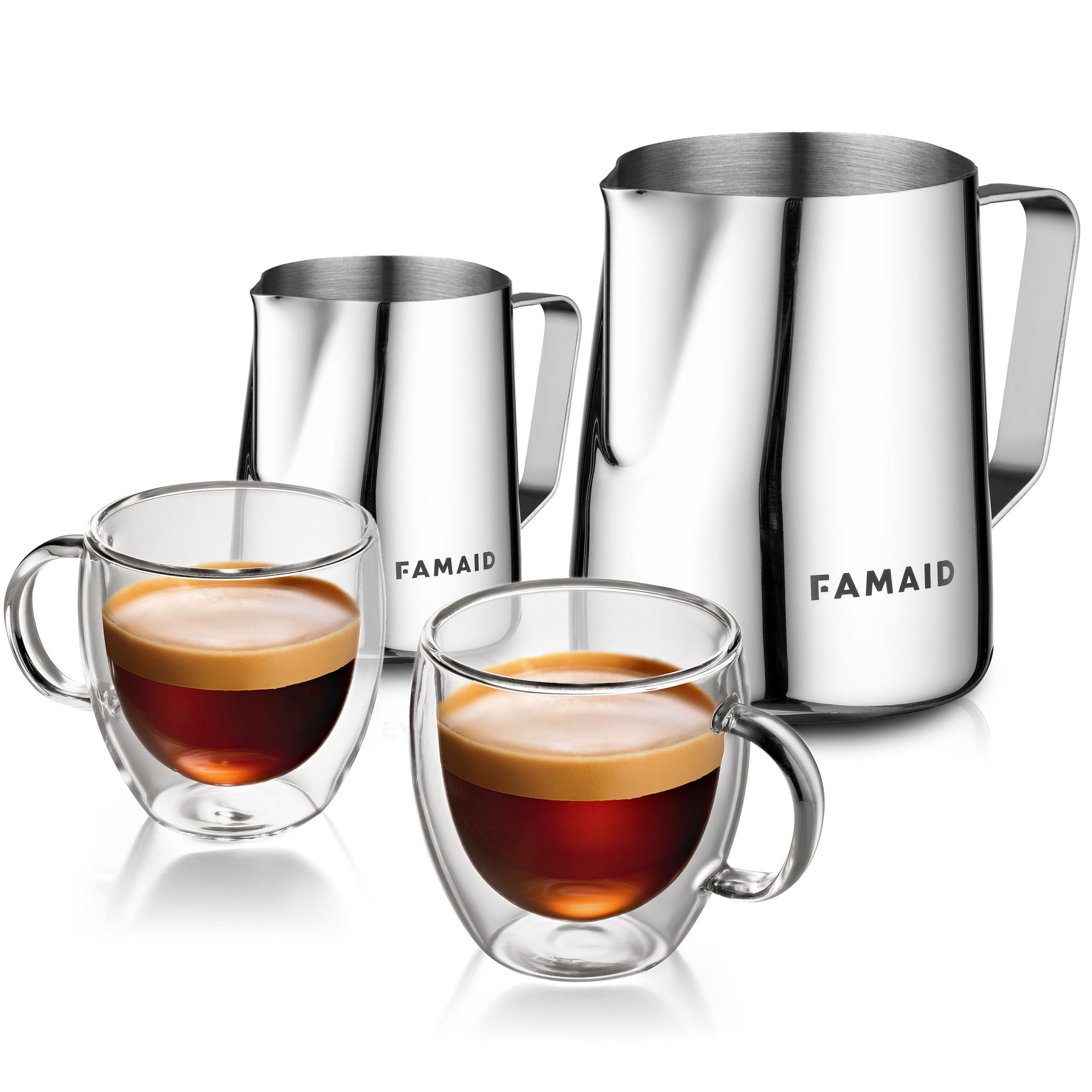 Frothing Pitchers And Espresso Cups Set: 12oz and 20oz Stainless Steel Frothers For Milk Steaming, 2 5.4oz Handmade Doubled Walled Glass Coffee Mugs Insulated For Cappuccino And Latte