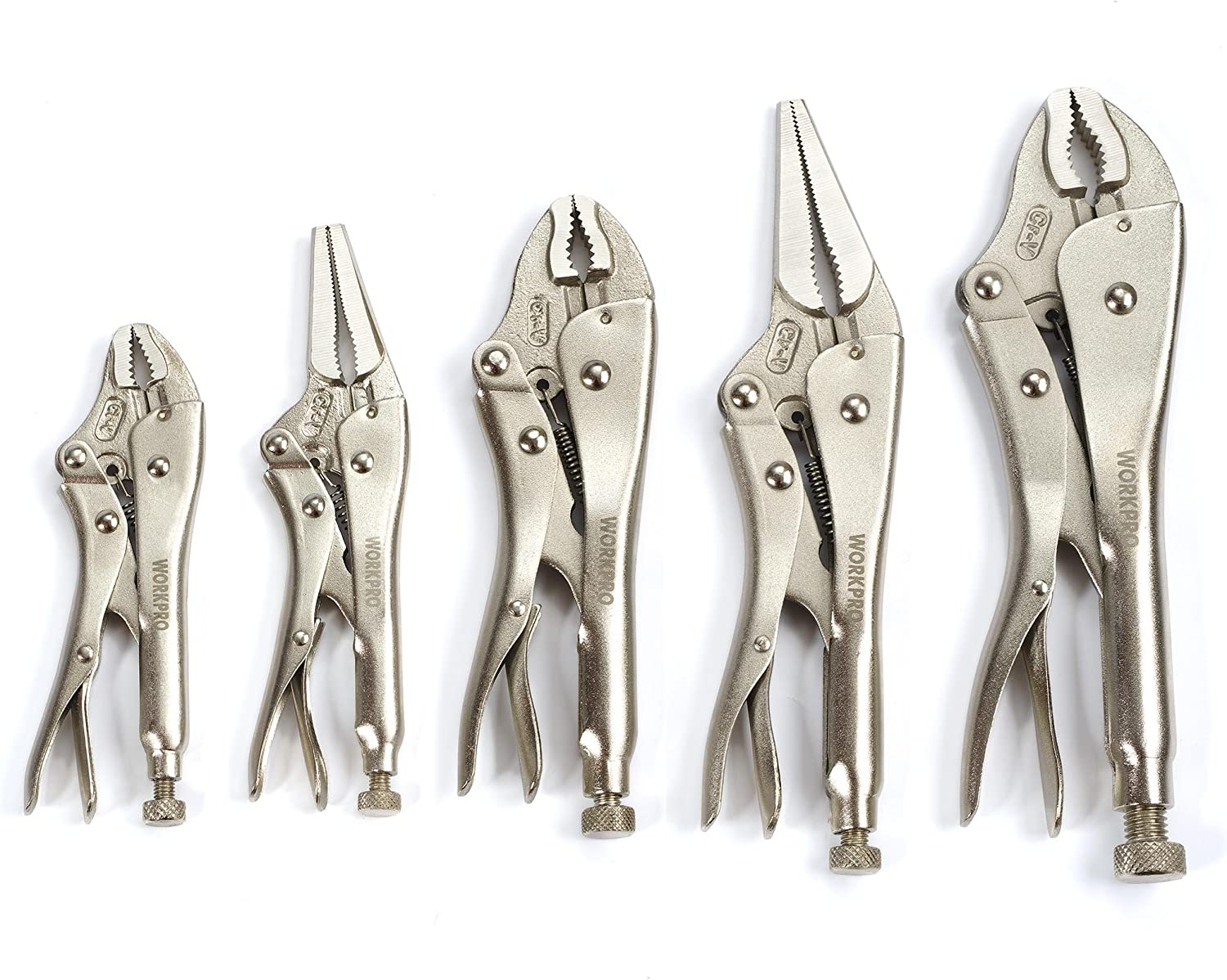 WORKPRO 5-Piece Locking Pliers Set(5/7/10 inch Curved Jaw Pliers,6.5/9 inch Long Nose Pliers), W001316A