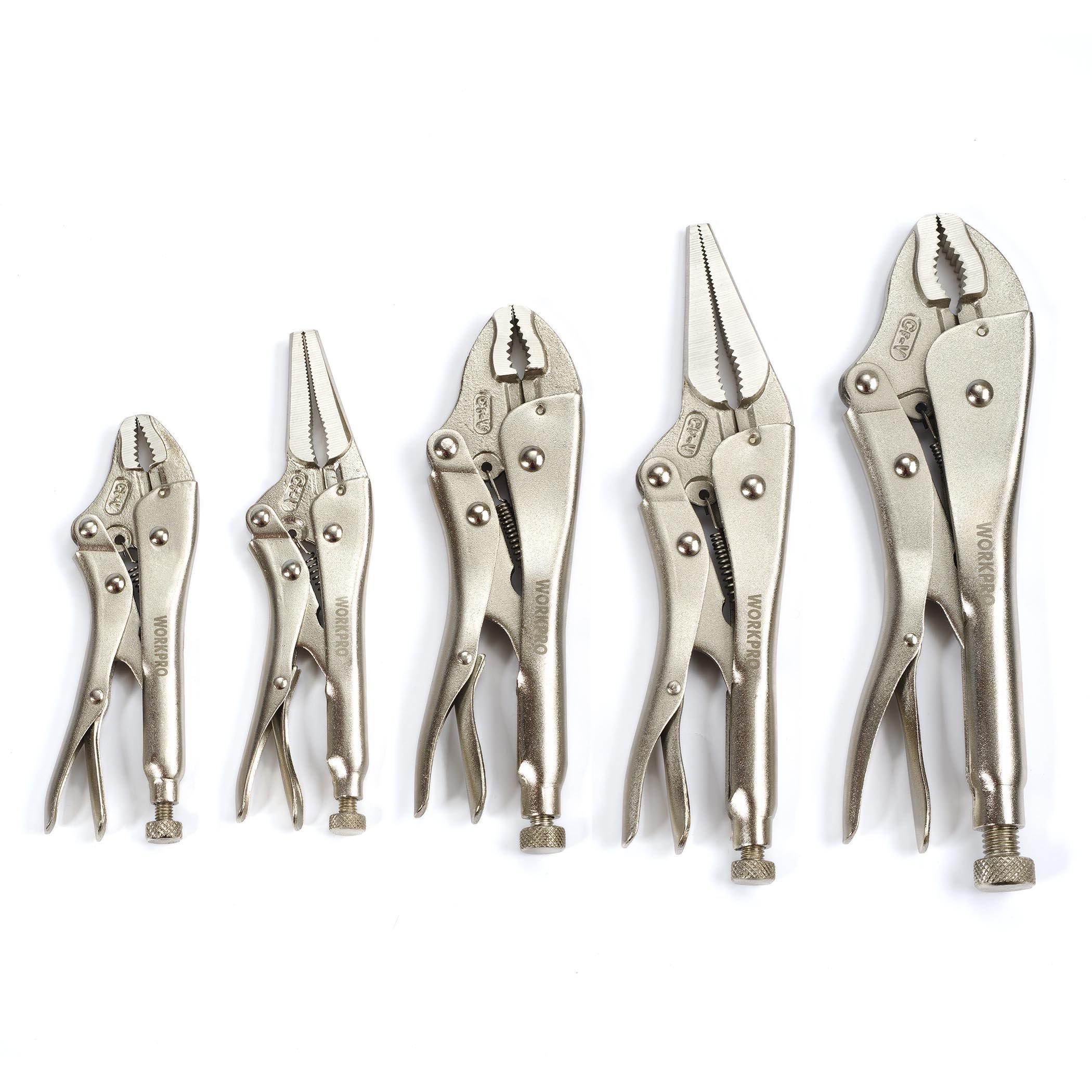 WORKPRO W001316A 5-Piece Locking Pliers Set(5/7/10 inch Curved Jaw Pliers,6.5/9 inch Long Nose Pliers) by WORKPRO