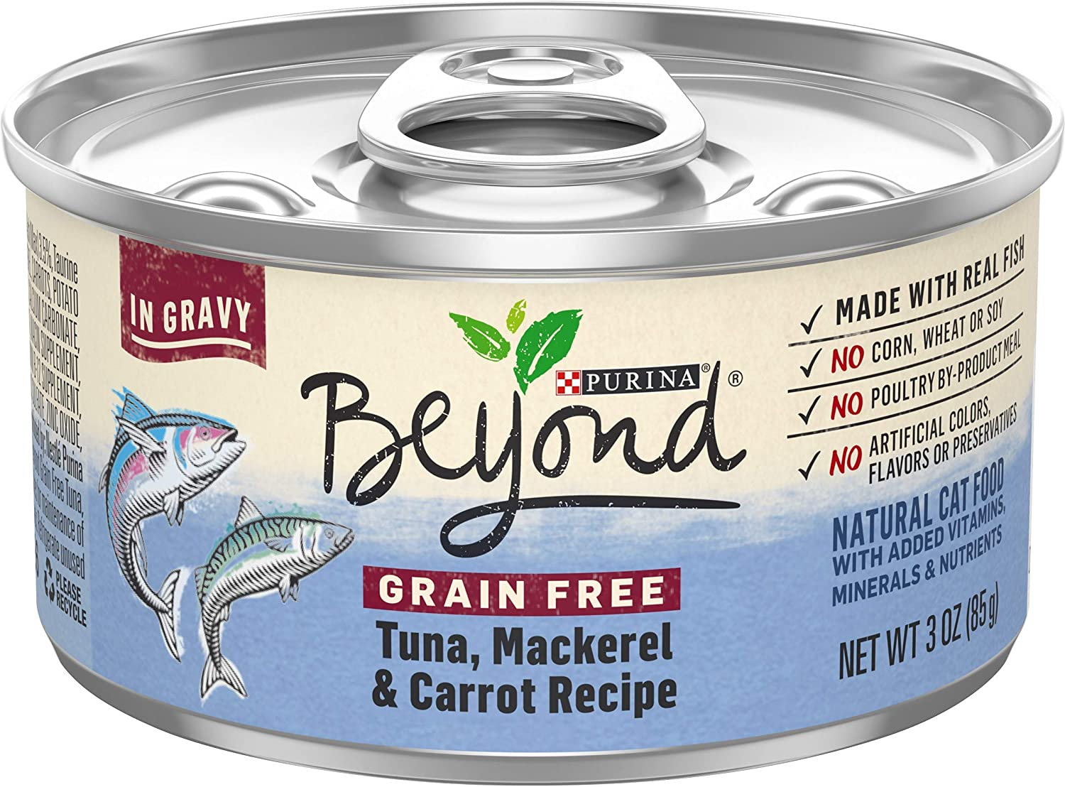 Purina Beyond Grain Free, Natural Gravy Wet Cat Food, Grain Free Tuna & Mackerel Recipe - (12) 3 oz. Cans