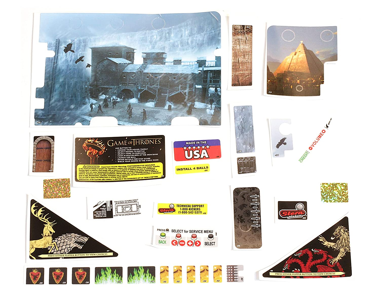 Stern Pinball Flipper Game of Thrones LE Aufkleber Set für Spielfeld (Decal)  802-5000-G5