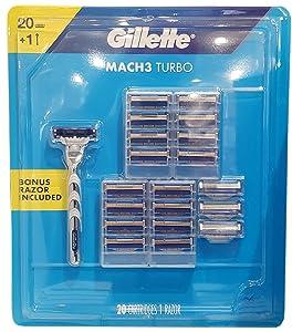 Gillette Gillette Mach3 Turbo Cartridges 20 & 1 Bonus Razor Included In 1 Pack (Netcount 1 Pack),