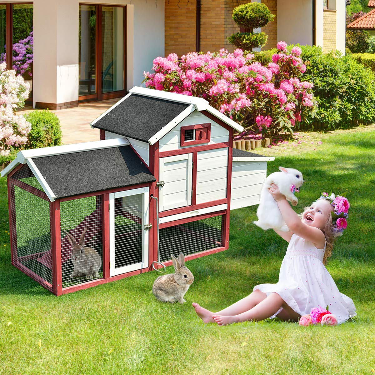Tangkula 60'' Large Rabbit Hutch Wooden White Rabbit Bunny Outdoor Animal Cage Rabbit Hutch House with Black Linoleum Roof by Tangkula (Image #4)