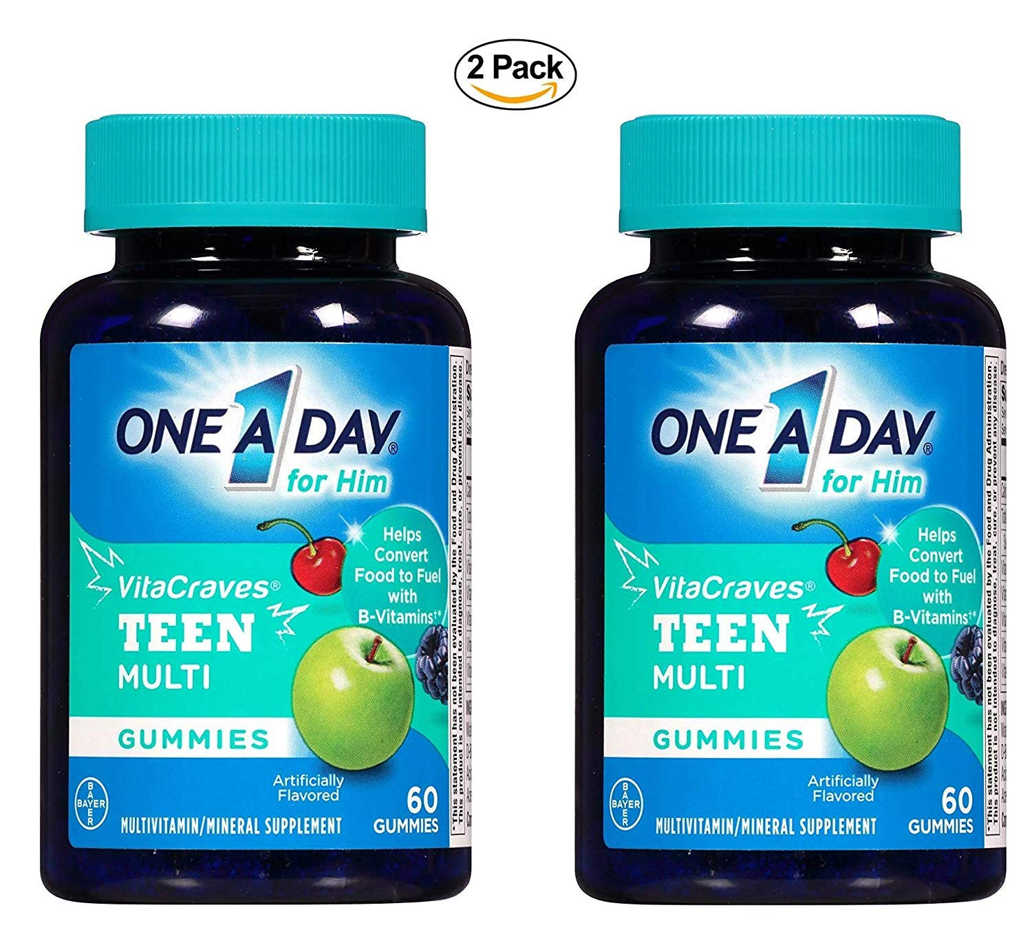 One A Day Vitacraves Teen for Him, 60 Count – Buy Packs and SAVE Pack of 2