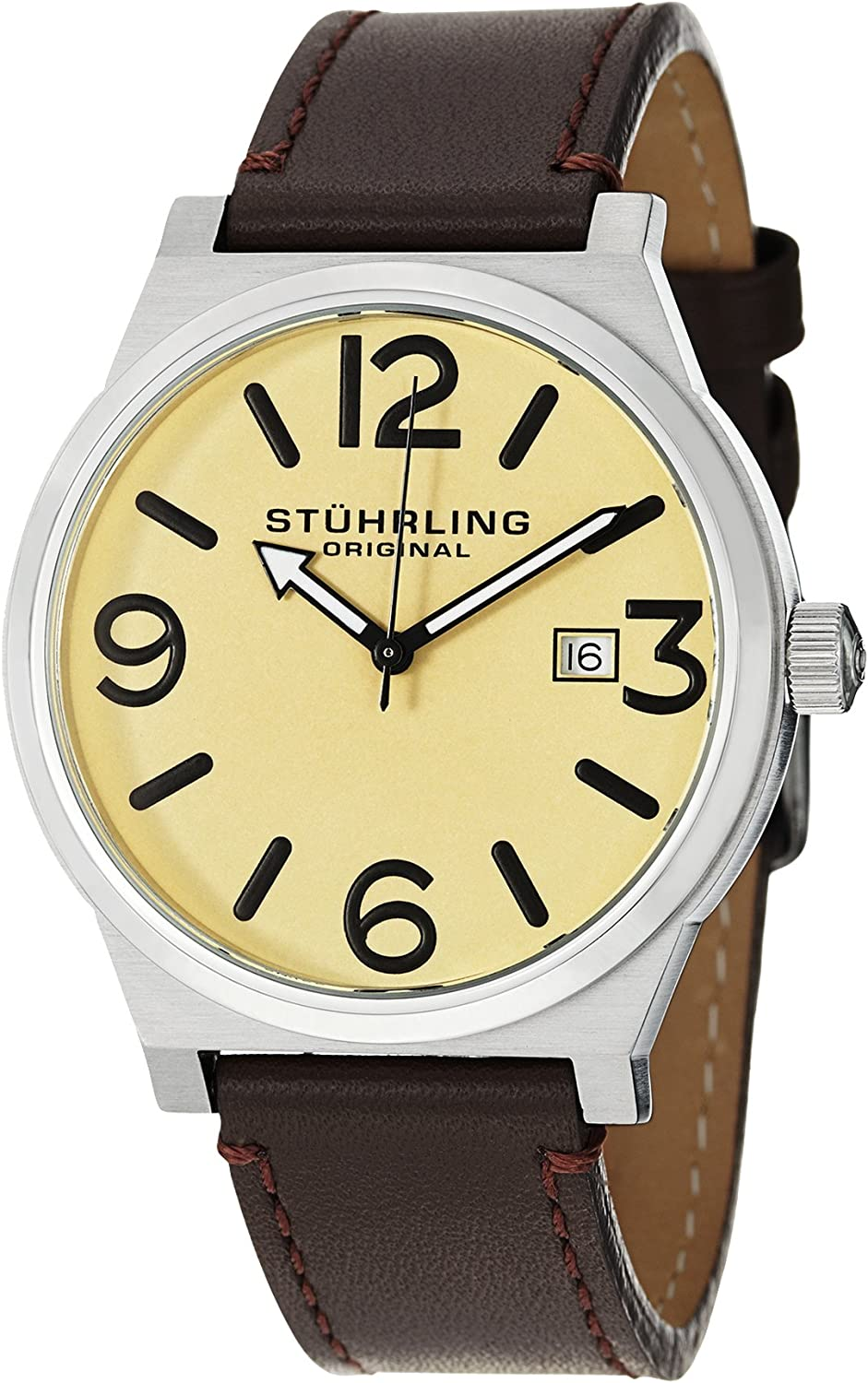 Stuhrling Original Men s 454.3315K15 Leisure Eagle Osprey Swiss Quartz Date Brown Leather Strap Watch