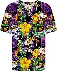 2949cba9ca563a Mr Gugu   Miss Go Woman Man Printed T-Shirt Skulls in Flowers