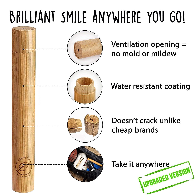 Amazon.com: Leafico - Cepillo de dientes de bambú con funda ...
