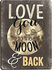 Love You To The Moon & Back Distressed Wood Look 3 x 4 Inch Wood Lithograph Magnet