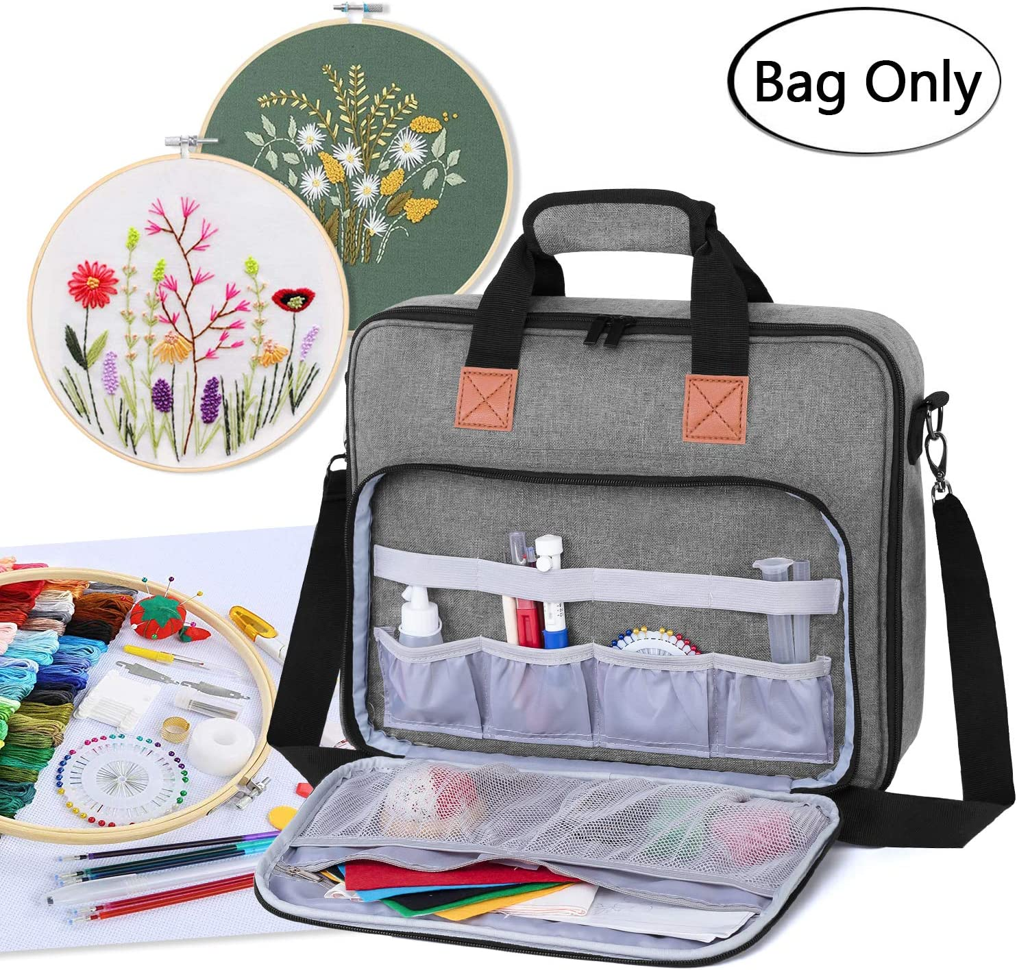 Luxja Embroidery Project Bag Embroidery Kits Storage Bag Bag Only Gray